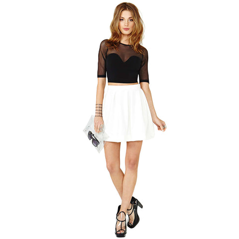 Fashion Women Mini Skirt Solid Pleated Exposed Zipper Back Fastening Casual Skirt