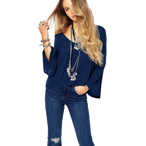 Chic Retro Solid Long Flare Sleeve Blue Chiffon Blouse