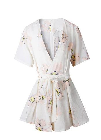Sexy Floral Print Cross Plunge V Neck High Waist White Short Rompers