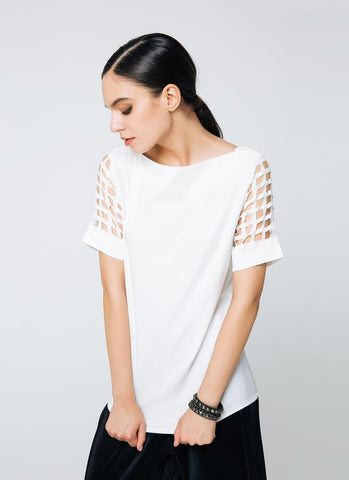 Trendy Slash Neck Hollow Out Short Sleeve Blouse