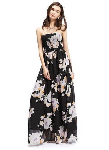Chiffon Bandeau Bandage Floral Print Lined Swing Maxi Dress