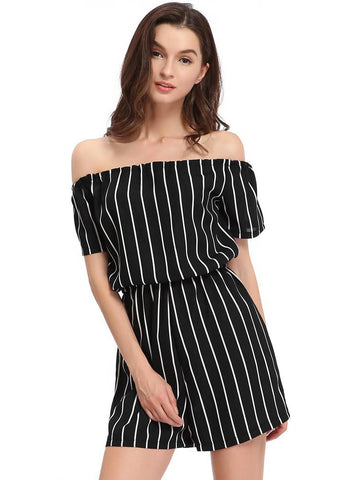 Sexy Off Shoulder Black White Stripe Jumpsuit