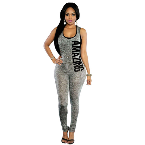 New Letter Print Plunge Bodycon Fit Jumpsuits