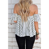 Off Shoulder Stripe White Black Tops