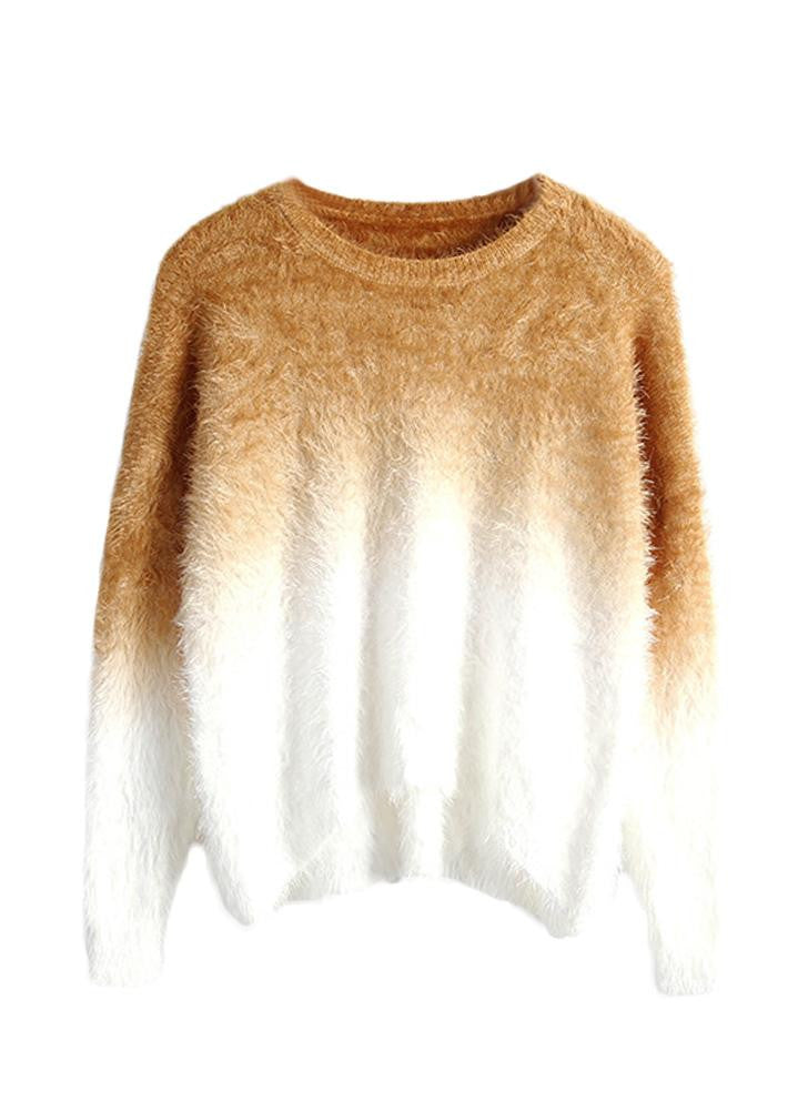 Gradient Fluffy Mohair Loose Sweater