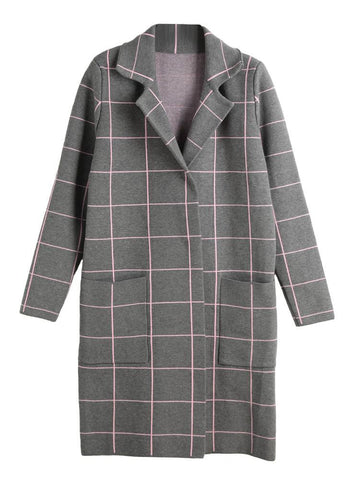 Plaid Pattern Long Sleeve Pocket Knitted Coat