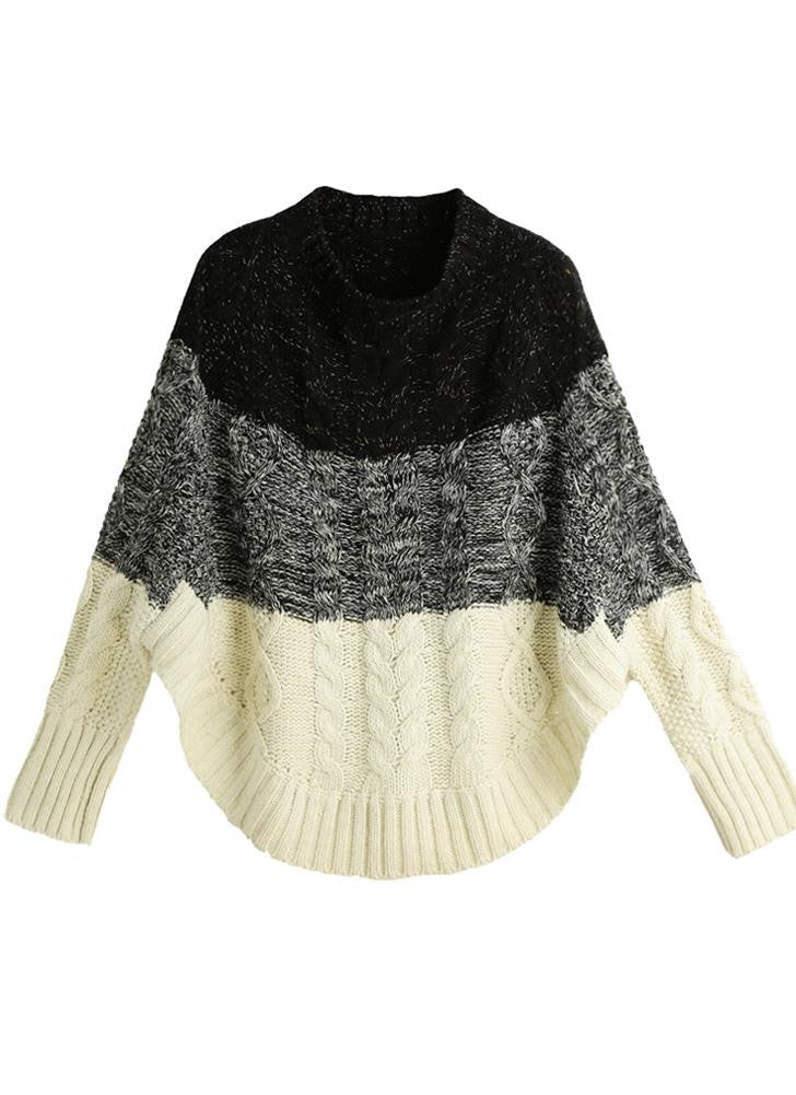 Contrast Color Bat Sleeve Irregular Hem Sweater