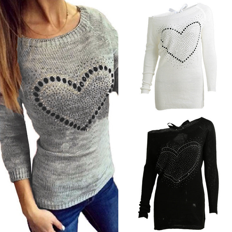 Rhinestone Cut Out Strap Off Shoulder Raglan Casual Sweater
