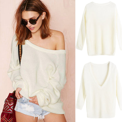 Sexy Slash Neck Open Back Loose Sweater