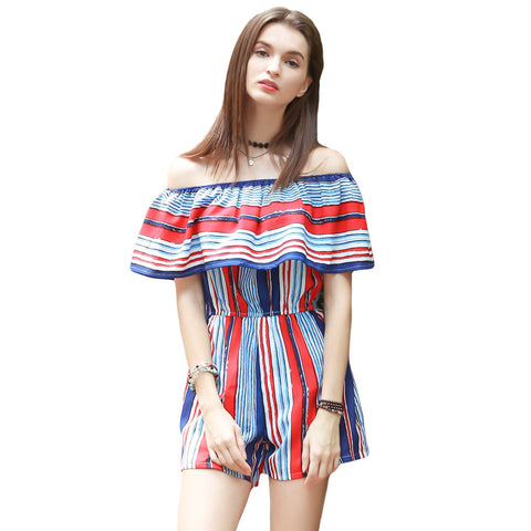 Contrast Stripe Ruffle Off Shoulder Pocket Short Rompers