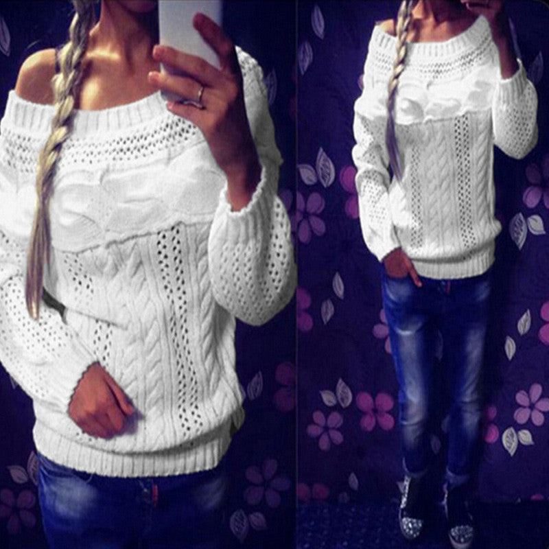 Off The Shoulder Hollow Out Pullover Stripes Knitted Sweater