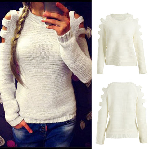Women Cut Out Round Neck Long Sleeves Knitted Sweater