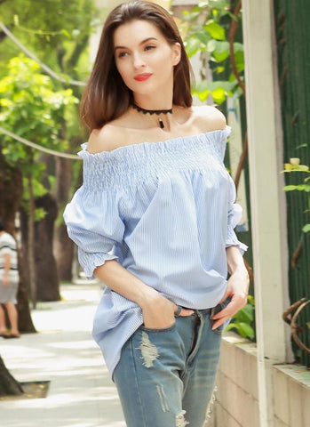 Striped Off Shoulder Flouncing Ruffles Loose Blouse