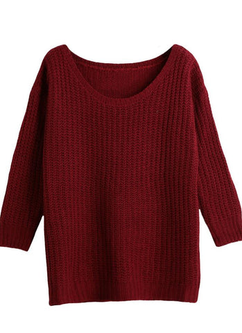 Long Sleeve Casual Loose Knitwear Top/Sweater