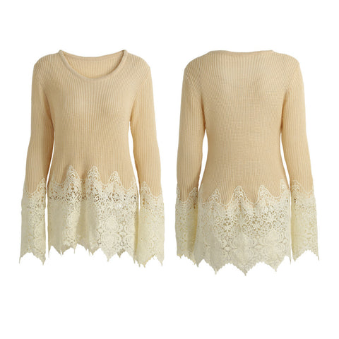 Women Crochet Lace Scalloped Edge O Neck Stretchy Casual Sweater