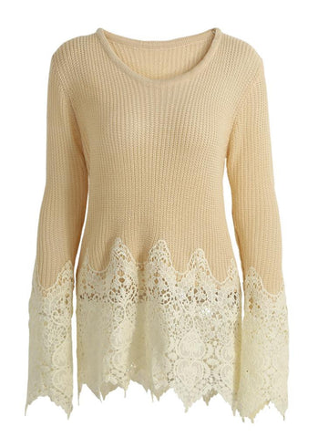 Crochet Lace Scalloped Edge O Neck Sweater