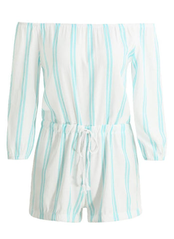 Off Shoulder Vertical Striped Long Sleeve Drawstring Rompers