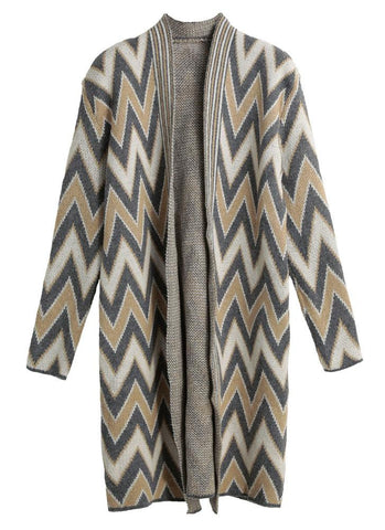 Open Front Chevron Print Stripes Side Pockets Cardigan