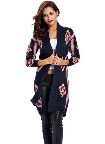 Contrast Geometric Striped Long Sleeves Cardigan