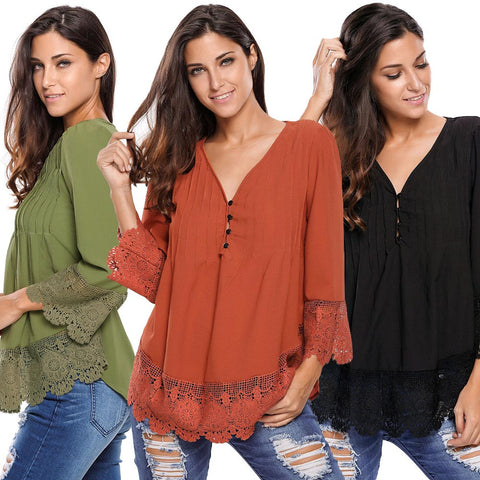 Lace Button Up Deep V Neck Pleats Blouse