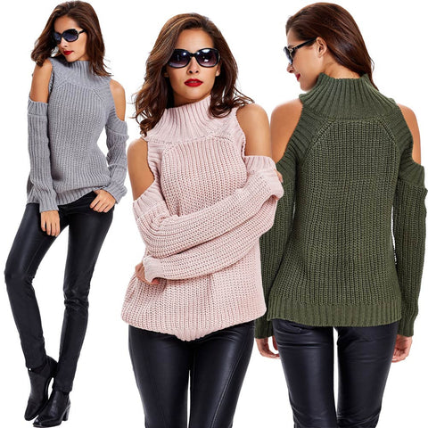 Turtle Neck Cold Shoulder Vertical Stripes Knitted Sweater