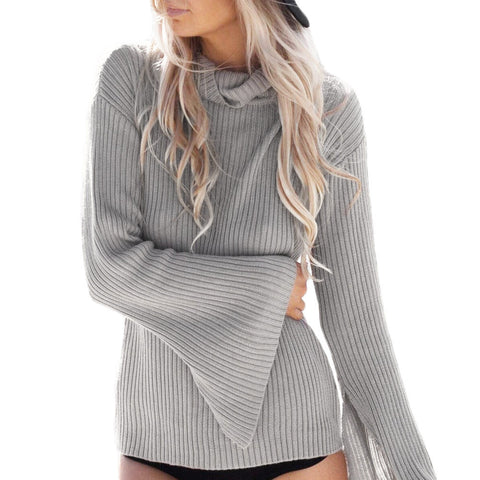 Turtle Neck Striped Split Flare Sleeve Loose Casual Pullover Sweater