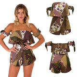 Floral Geometric Off Shoulder Tie Sleeve Pocket Backless Rompers