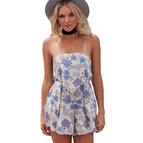 Boho Spaghetti Strap Print Backless High Waist Women's Rompers