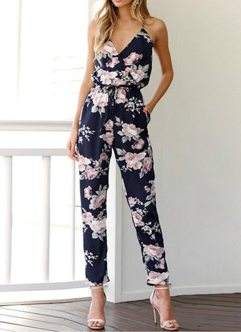 Boho Floral Print Cross V Neck Spaghetti Strap Backless Women's Jumpsuit