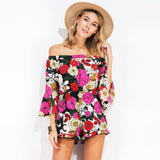 Floral Print Off Shoulder 3/4 Sleeves Backless Women's Rompers