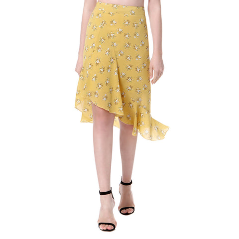 New Retro Women Floral Chiffon Skirt Asymmetric Frill Trim High Waist Side Zipper Midi Skirt