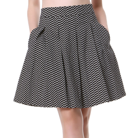New Fashion Women Striped A-Line High Waist Pleated Skirt Vintage Party Stripe Knee-Length Swing Skirt
