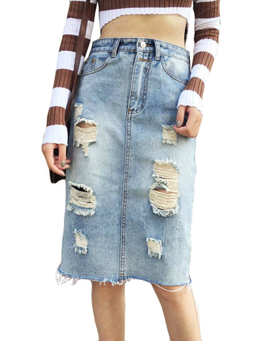 New Fashion Women Ripped Denim Skirt High Waist Pockets Split Back Distressed Pencil Skirt