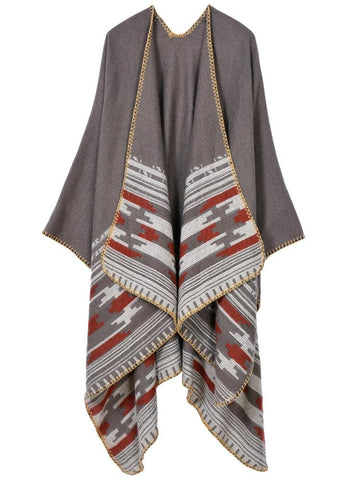 Cape Poncho Open Front Contrast Striped Cardigan