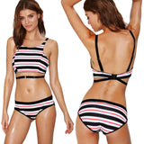 Bikini Set Contrast Stripe Crop Top Sexy Bottom Swimwear