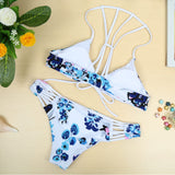 Bikini Set Print Bandage Wireless Padded Bathing Suit Swimwear