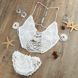 Bikini Set Halter Hollow Out Backless Bandage Bathing Swimwear