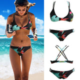 Bikini Floral Print Wireless Padded Bandage Bathing Suit Swimwear