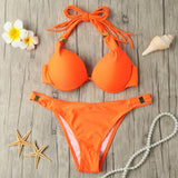 Bikini Set Bandage Fringed Halter Underwire Beach Swimwear