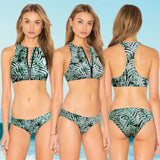 Bikini Set Leave Print Zipper Front Low Waist Briefs Swimwear