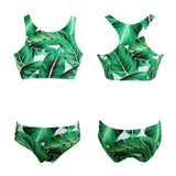 Bikini Set Tropical Leaves Print Bandage Padded Swimwear