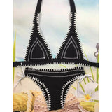 Bikini Set Halter Solid Padded Wireless Bathing Suit Swimwear