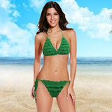 Crochet Knit Bikini Set Self-tie Halter Bandage Solid Swimwear