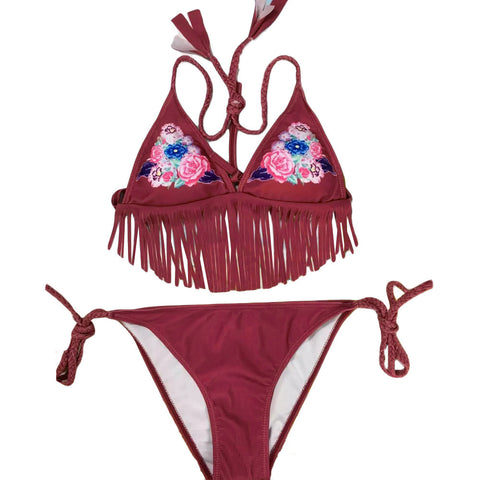 Fringe Bikini Set Floral Print Self-tie Low-rise Waist Swimwear
