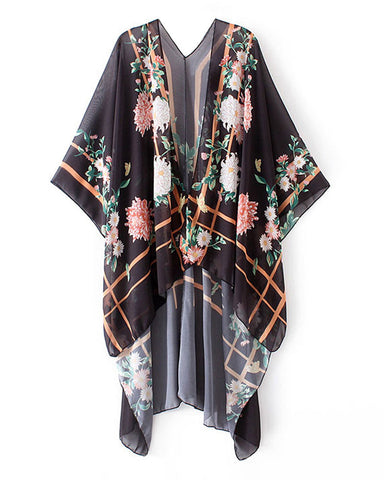 Floral Print Open Front V Back Women's Loose Kimono