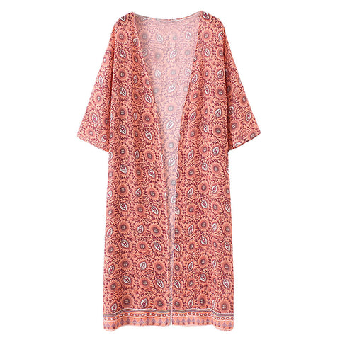 Fashion Chiffon Allover Print Front Open Women's Long Thin Kimono