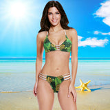 Bikini Set Halter Pineapple Print Padded Wireless Bathing Suit