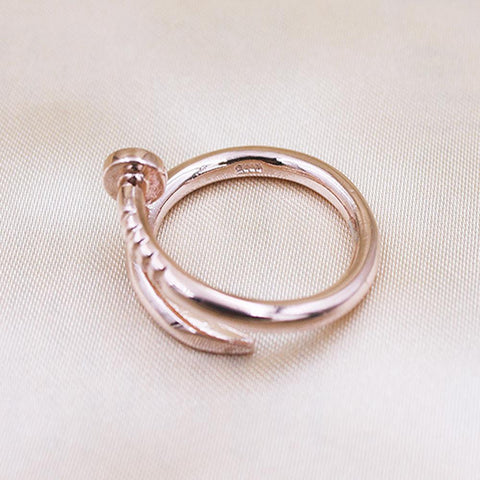 Trendy Screw Nail S925 Sterling Silver Nail Ring