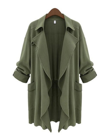 Trendy Long Sleeve Turn Collar Plus Size Trench Jacket