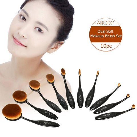 10pc ABODY Oval Soft Makeup Brush Set